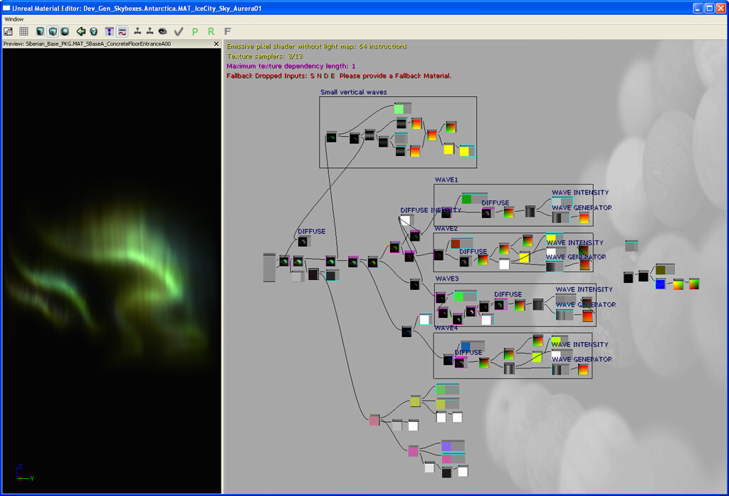 The aforementioned UE3 material network for the aurora