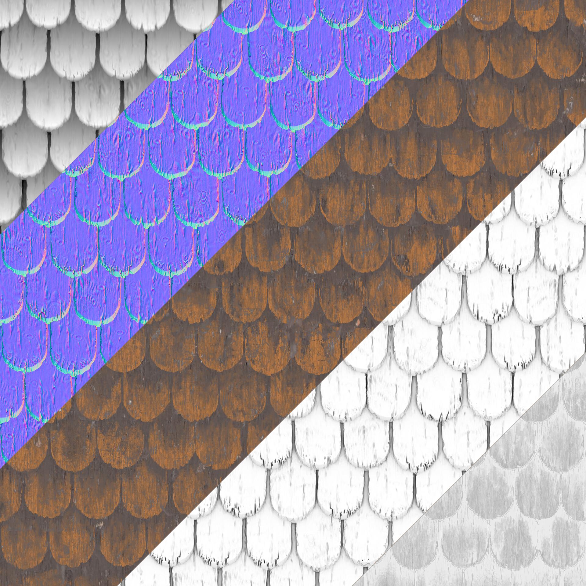 Wood shingles procedural texture set