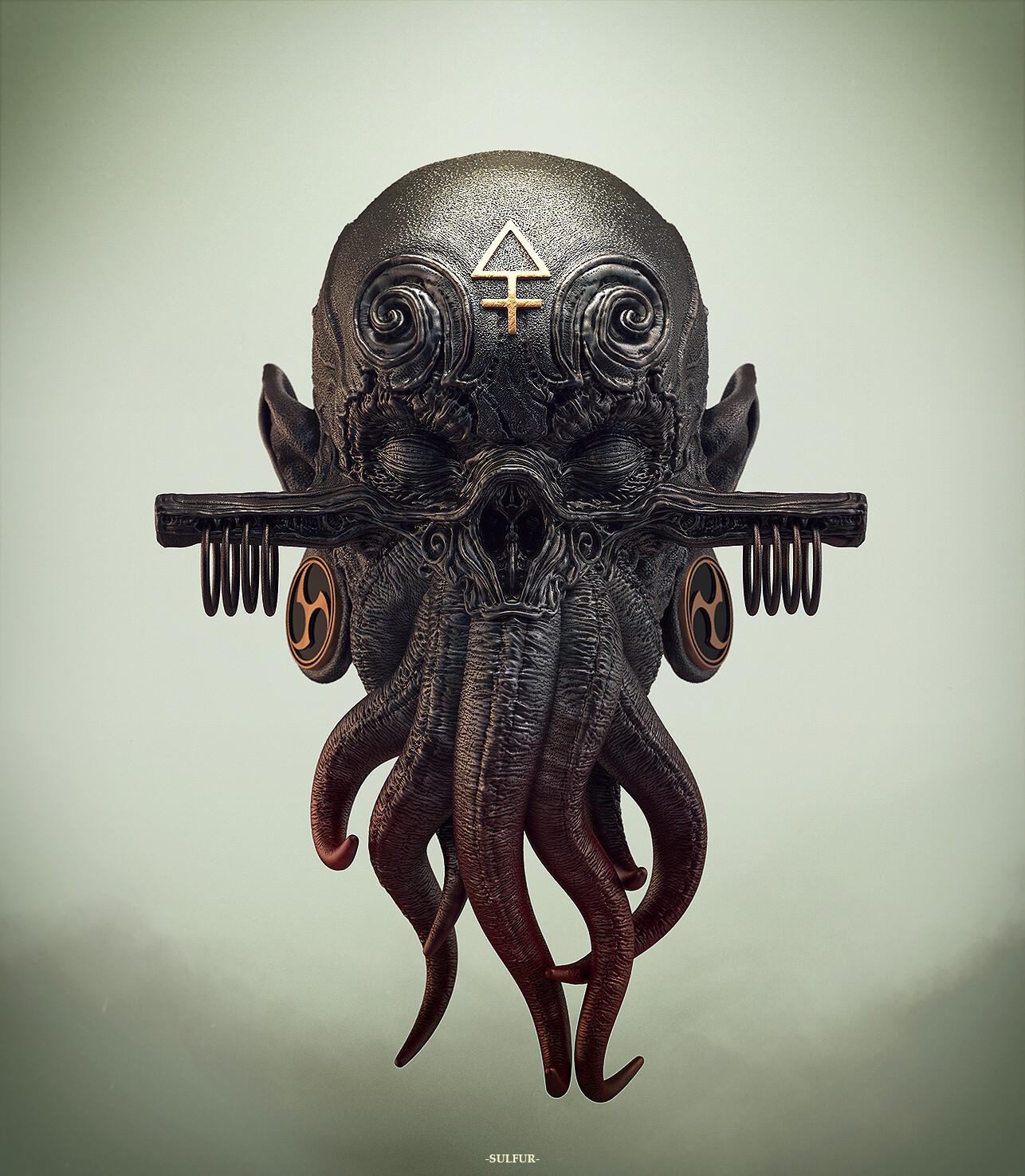a shrunken Elder Spawn head