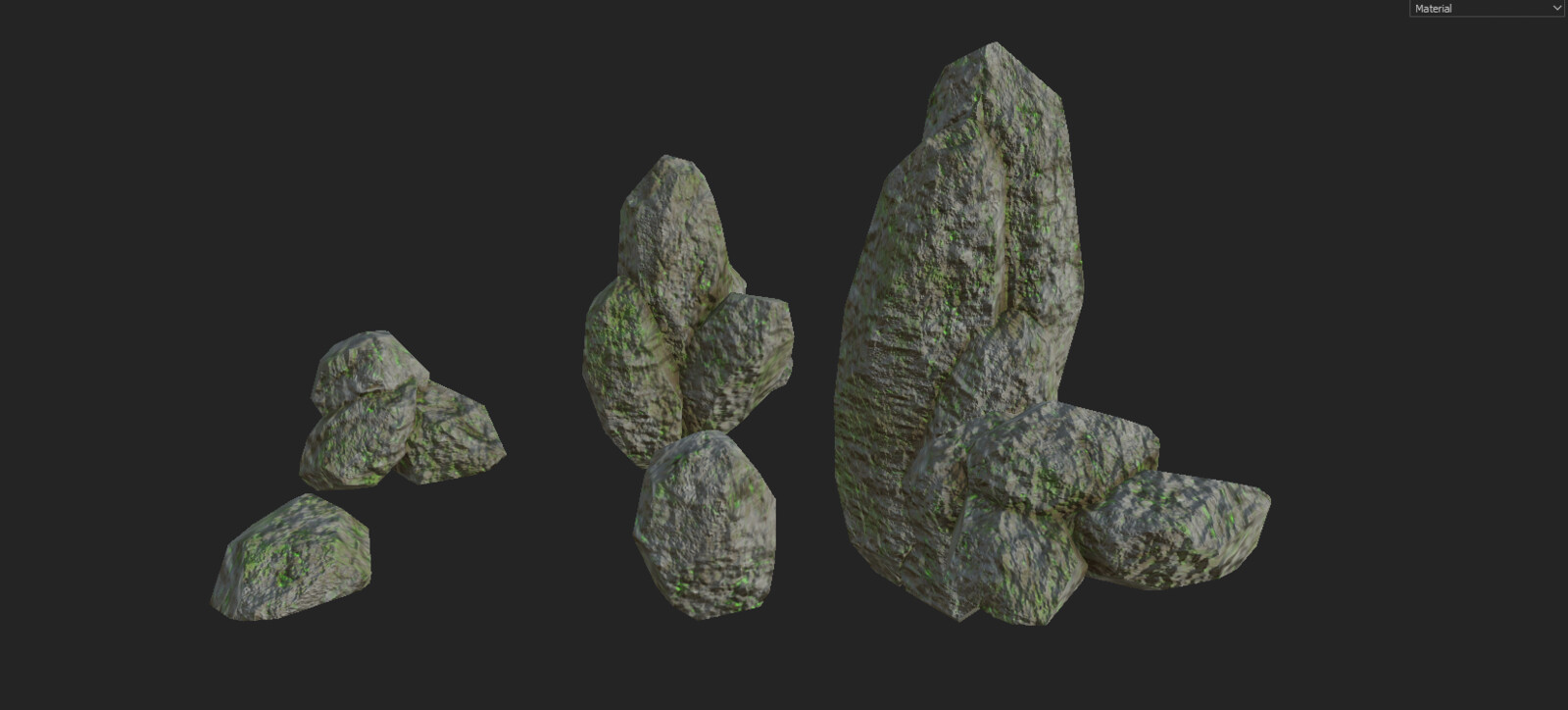 Rock set modeled in Blender and textured in Substance Painter