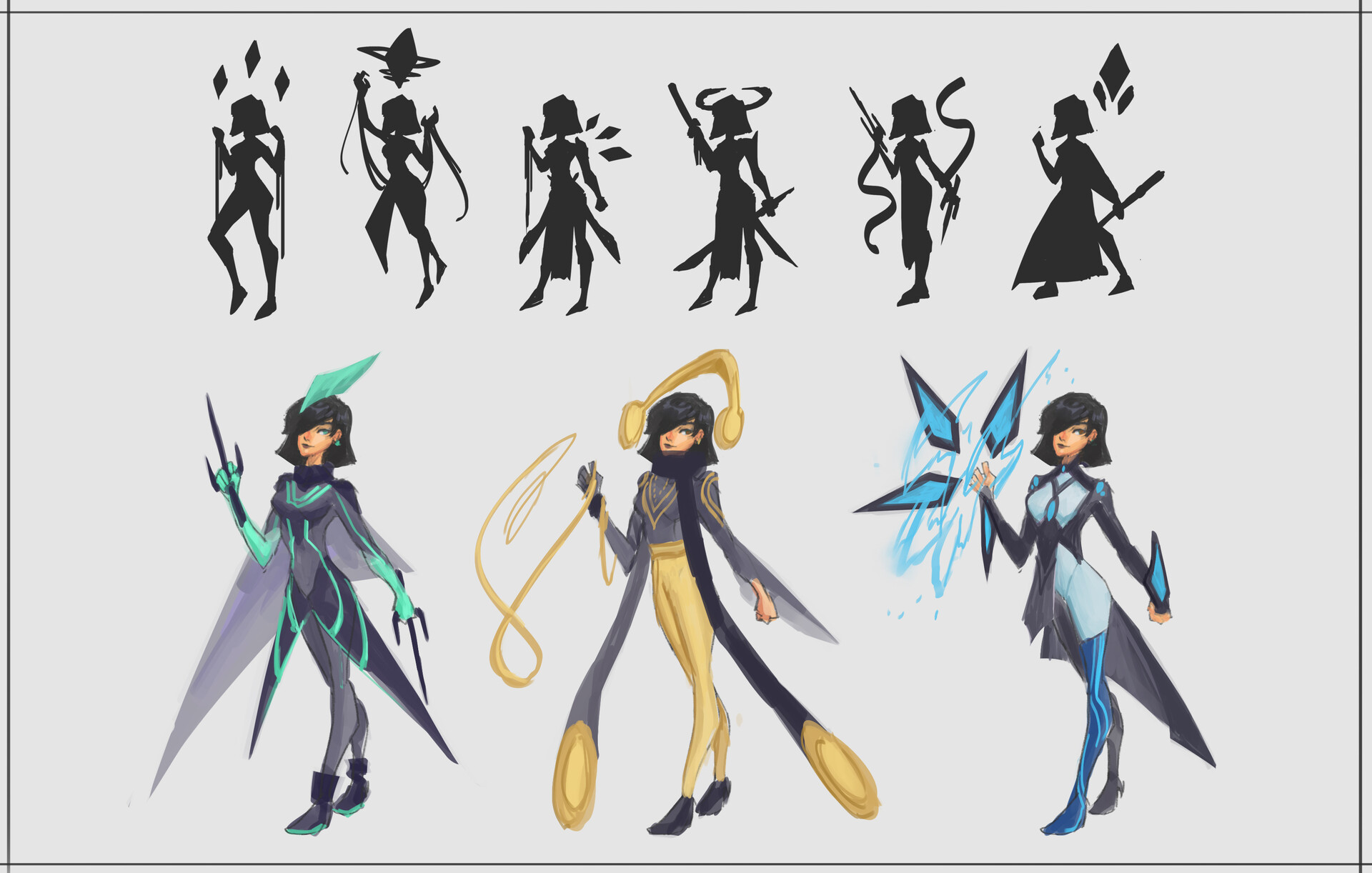 Initial Kae concepts. Liked the gold and black color, so went to explore that some more