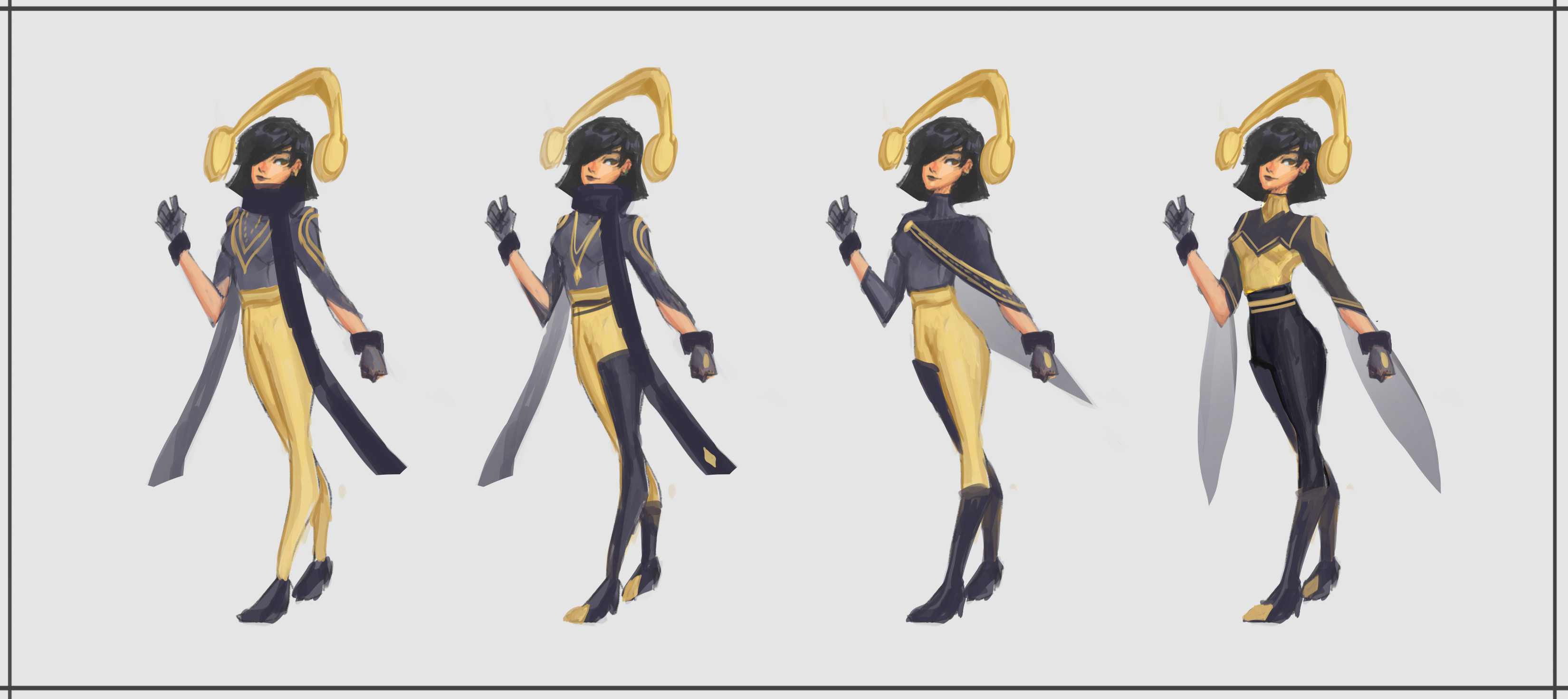 Figured I wanted to go back to her fighter roots since the scarf gave more mage vibes. Shortened the scarf and did variations without it