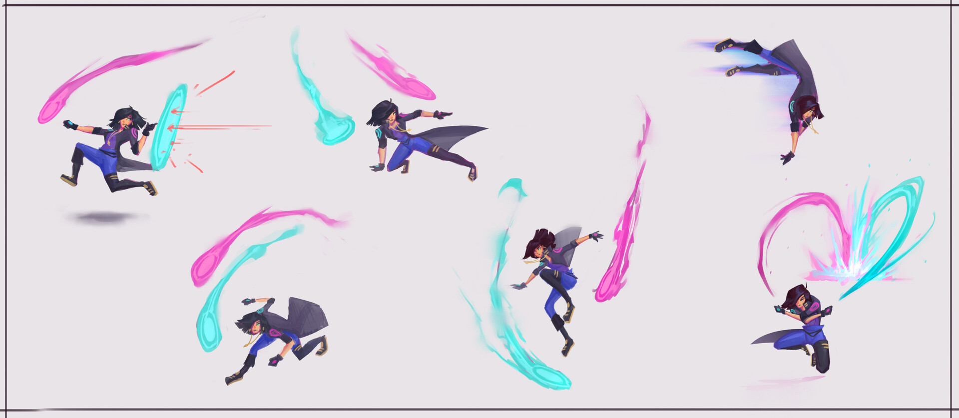 Pose/action exploration for how she moves and how her discs move