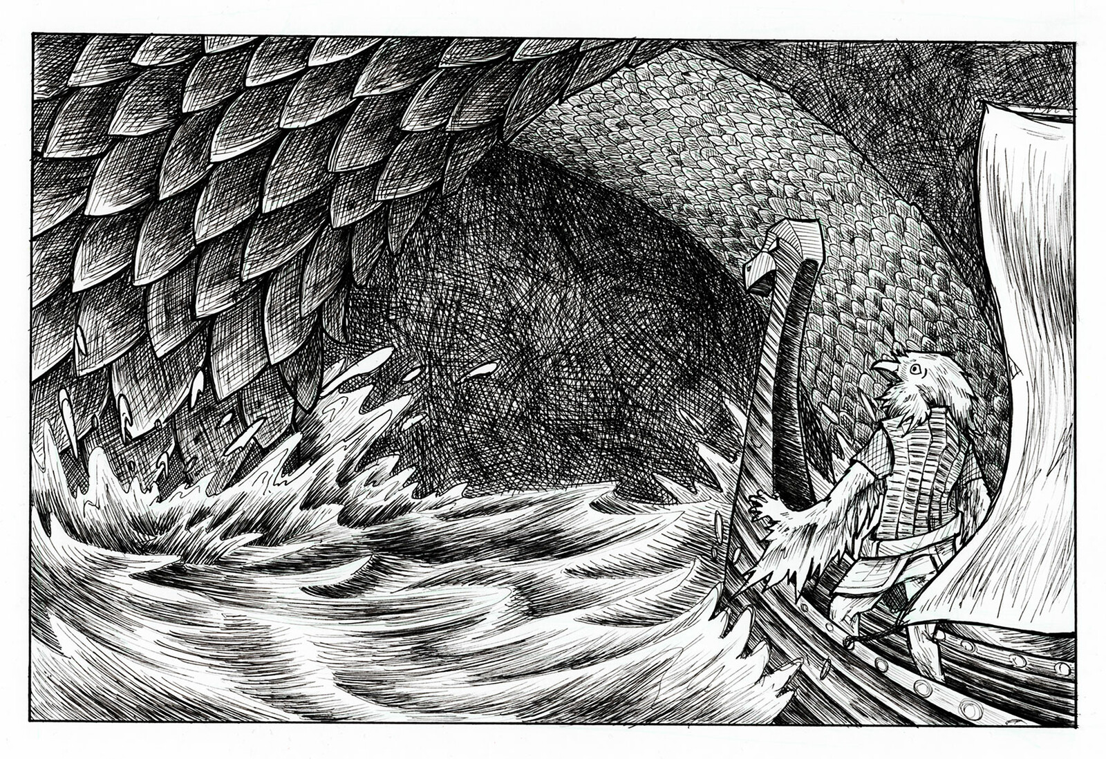 Spin off illustration #1  Hauk is sailing a small ship through the fjords when a serpent erupts out of the water.