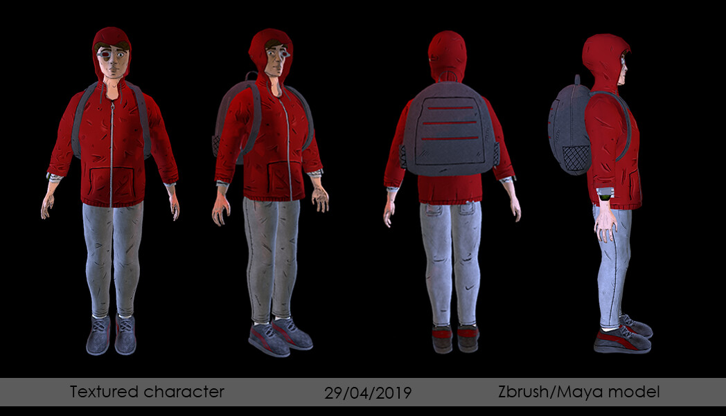 textured turnaround of evil version - textures made in substance painter