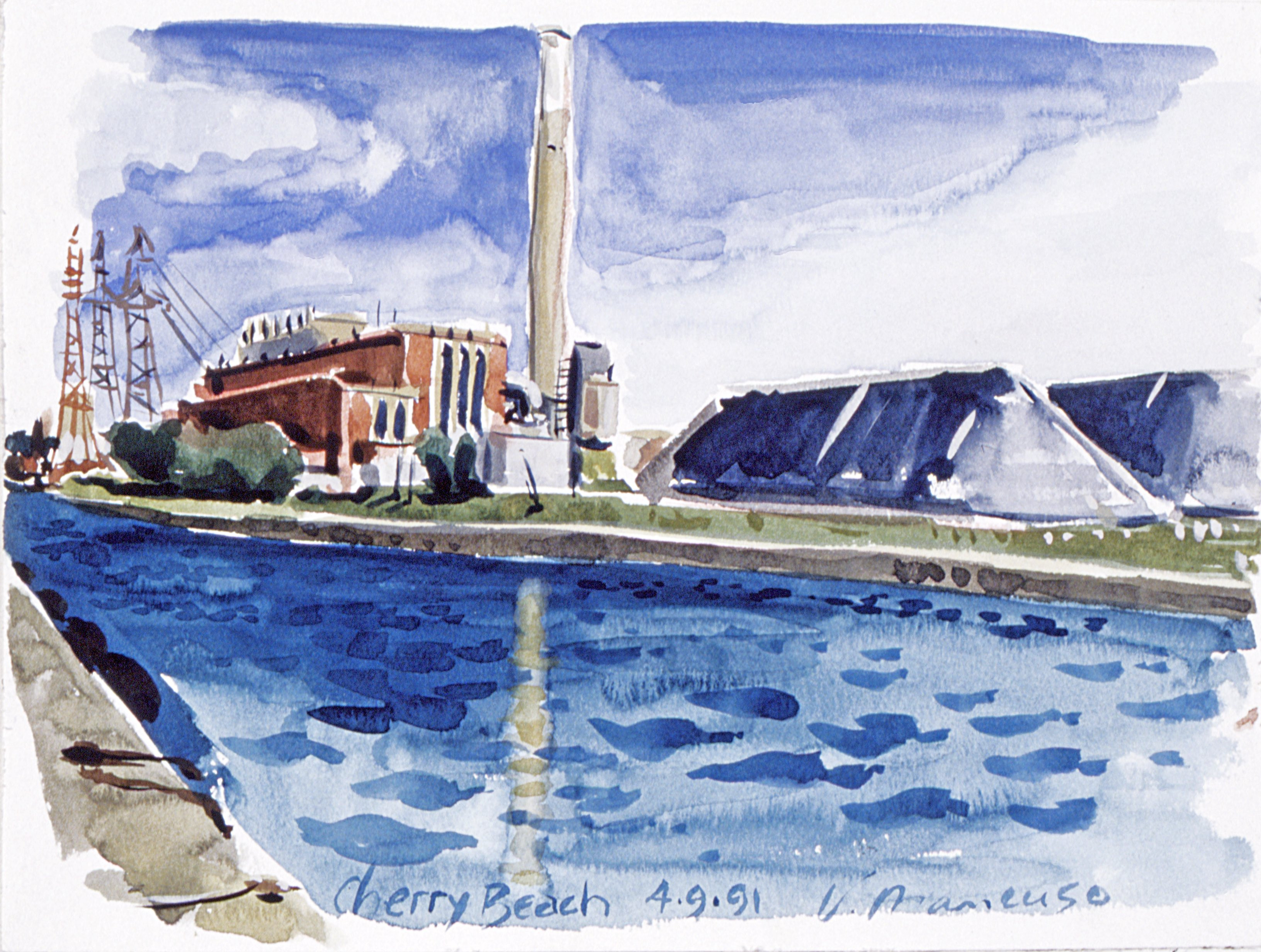Cherry Beach, Toronto, 9x12 inch water colour is part of the permanent collection of the Toronto Historical Board, Marine Museum.