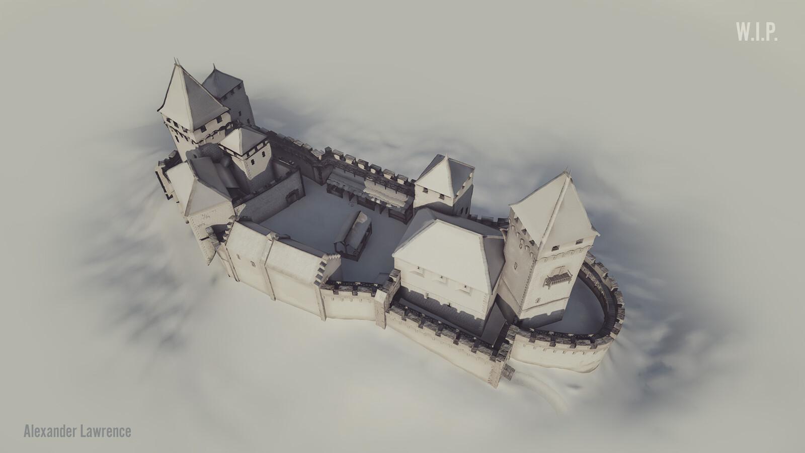 Top view of the castle, sans colors