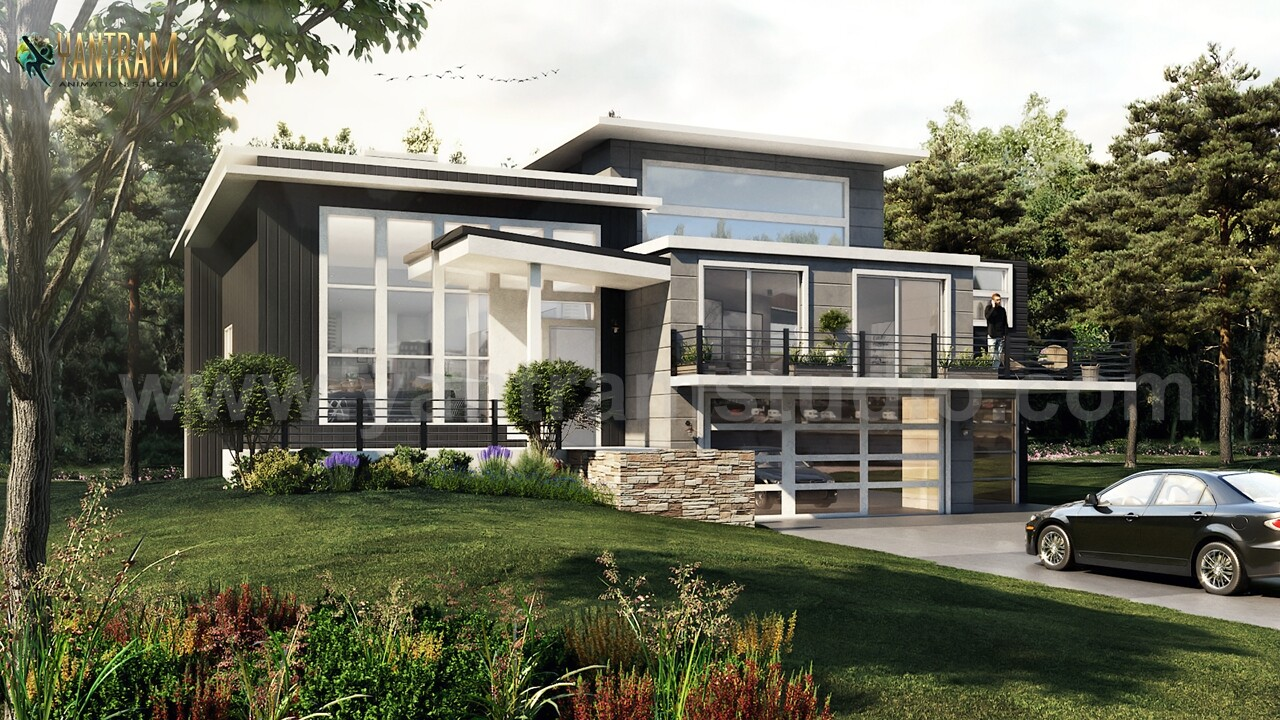 Artstation Modern Flat Roof Landscaping Exterior House Concept Of 3d Architectural Visualisation London Uk Yantram Architectural Design Studio