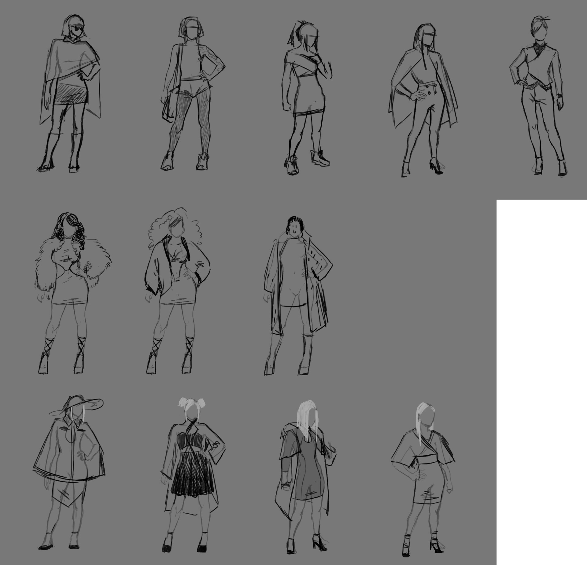 first sketches with different outfits.