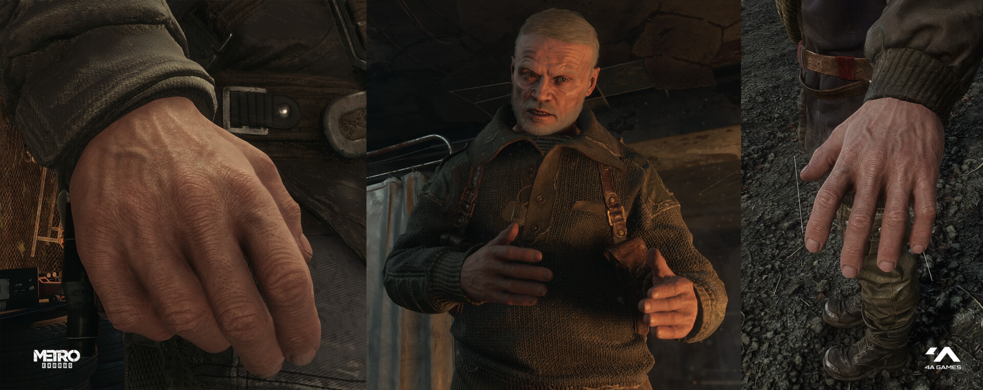 You can see these hands on most male characters in the Metro Exodus game
