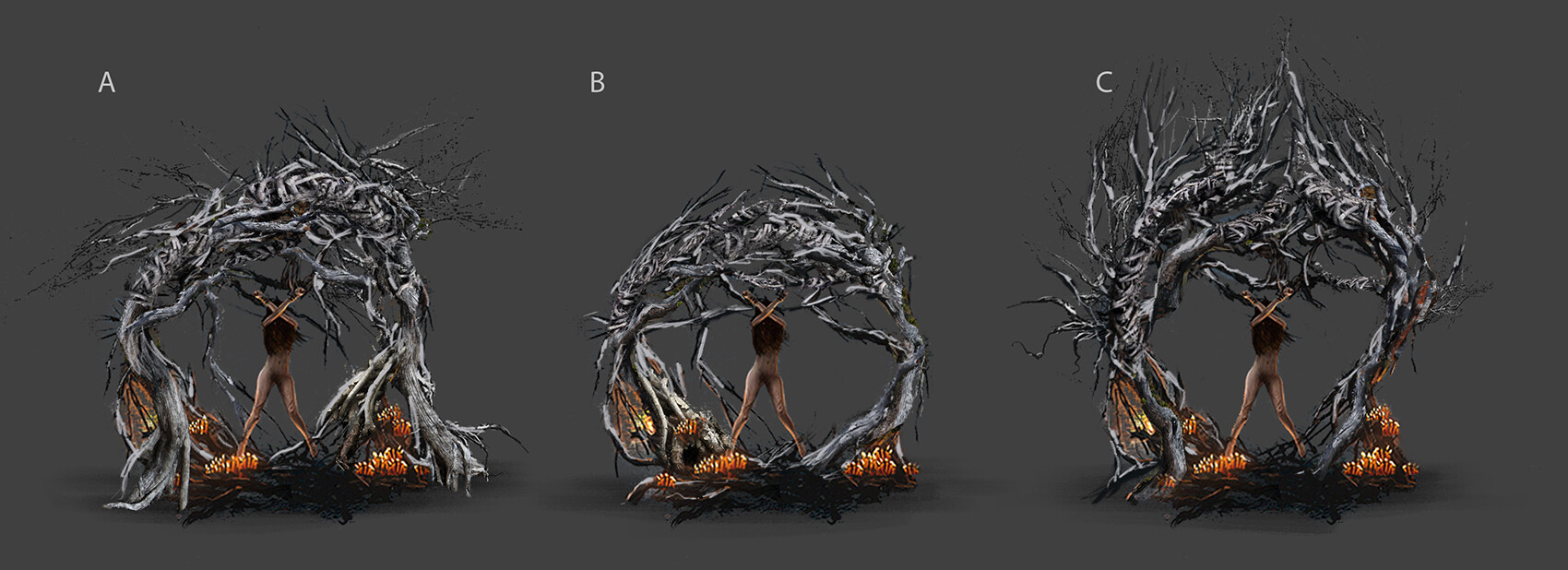 different versions of the root Altar with the victim