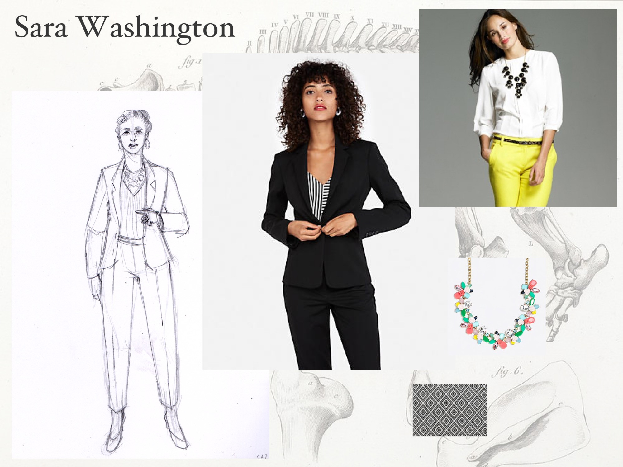 Sara Washington: reference. Images taken from the 2007-2008 J/Crew catalog and other fashions from the time period. She's an academic through and through, and presents sharper and harder than she actually is.