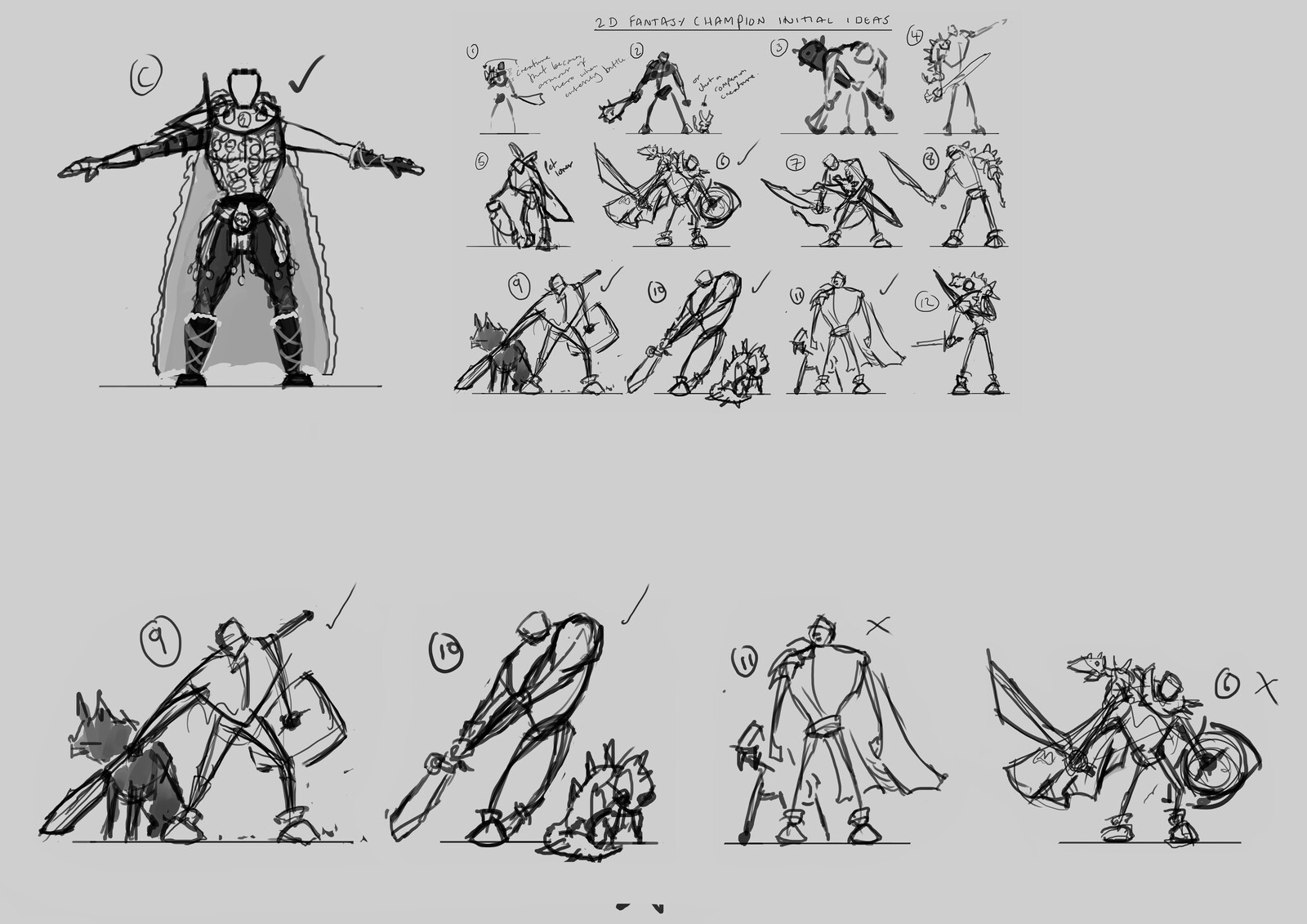 Chosen character concept thumbnail and final character pose thumbnails for character sheet.