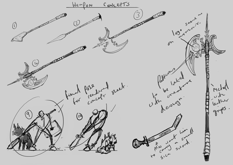 Weapon concept sketches and chosen final character pose to be painted.