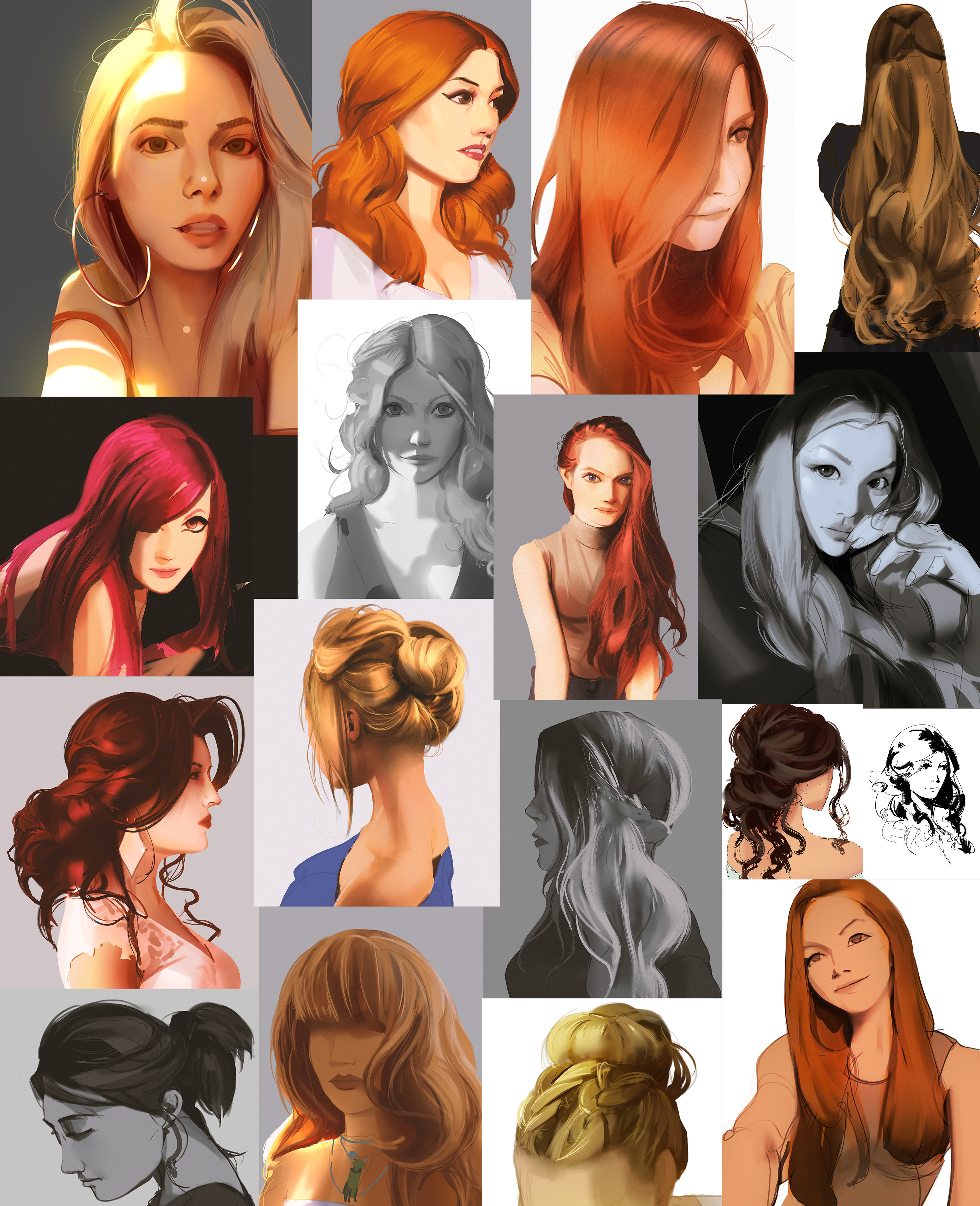 Studies i did along the way while working on the splash, wanted to focus on hair and face