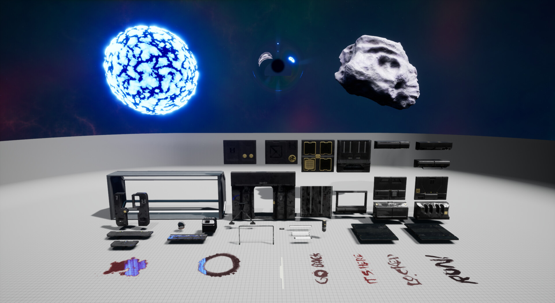 Assets Overview (33 static meshes, 13 Materials, 10 custom decals, 5 new shaders, custom space skybox)