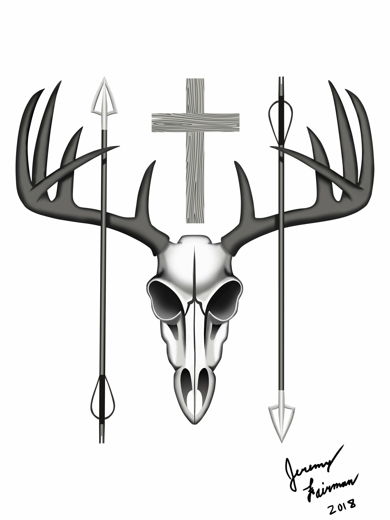 Jeremy Fairman Deer Skull Tattoo Design 2018
