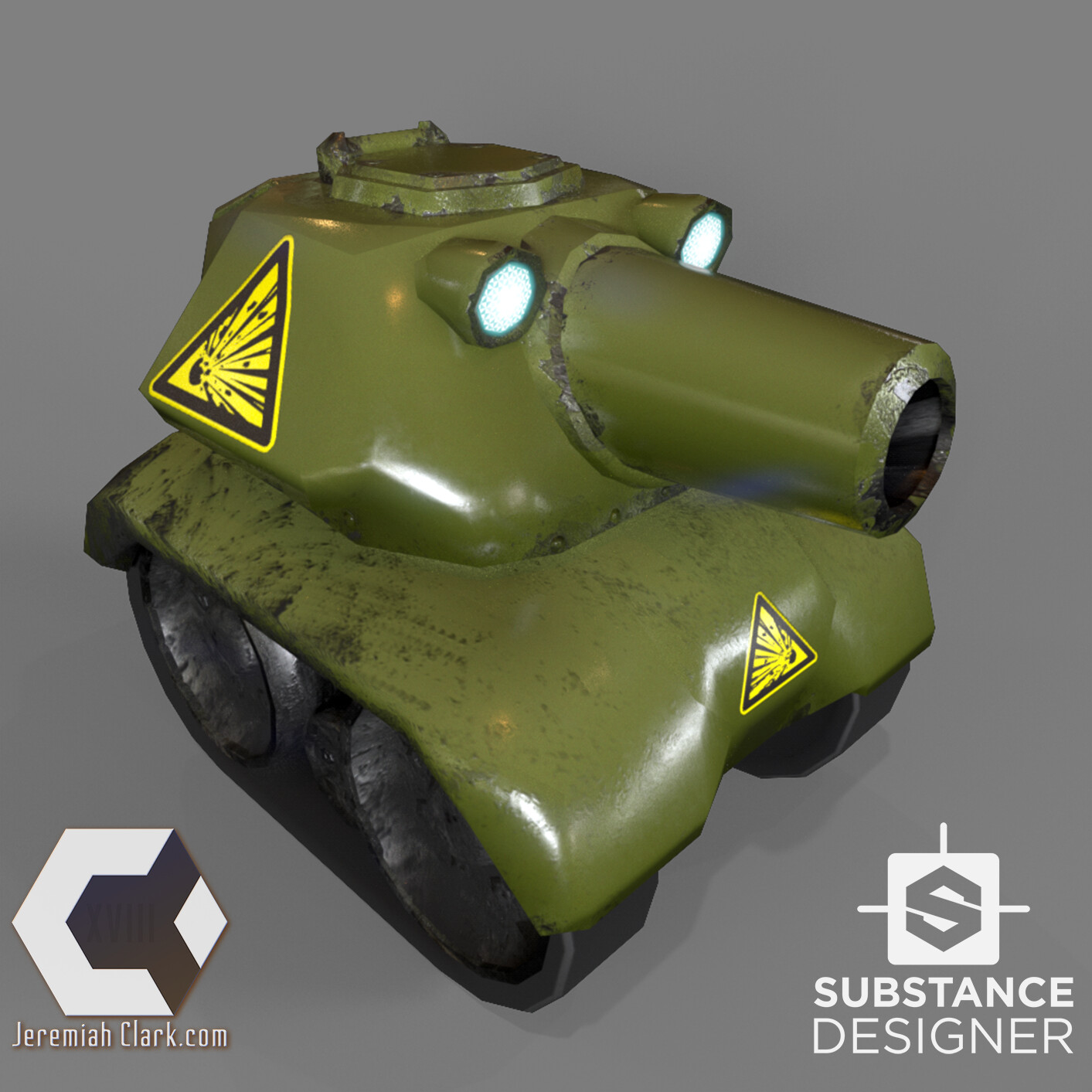 I picked a tank that was as far from the first as possible to test the texture. The same substance works with minimal adjustment.  Mesh optimized and UVed in Modo. Textured using Substance Designer. Rendered using IRay in Substance Desi