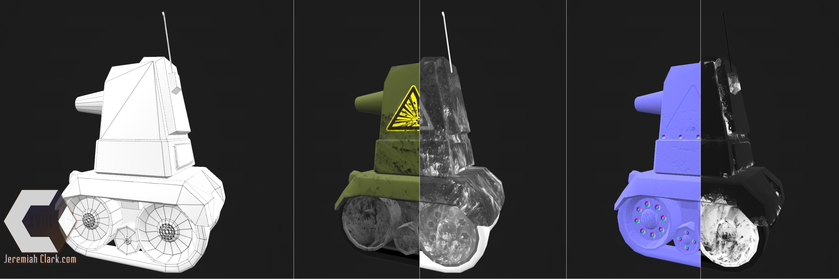 Wireframe and texture maps shown on model: Base Color, Roughness, Normal, Metallic (there is also an Emissive for the headlights).  UVed in Modo. Textured using Substance Designer.