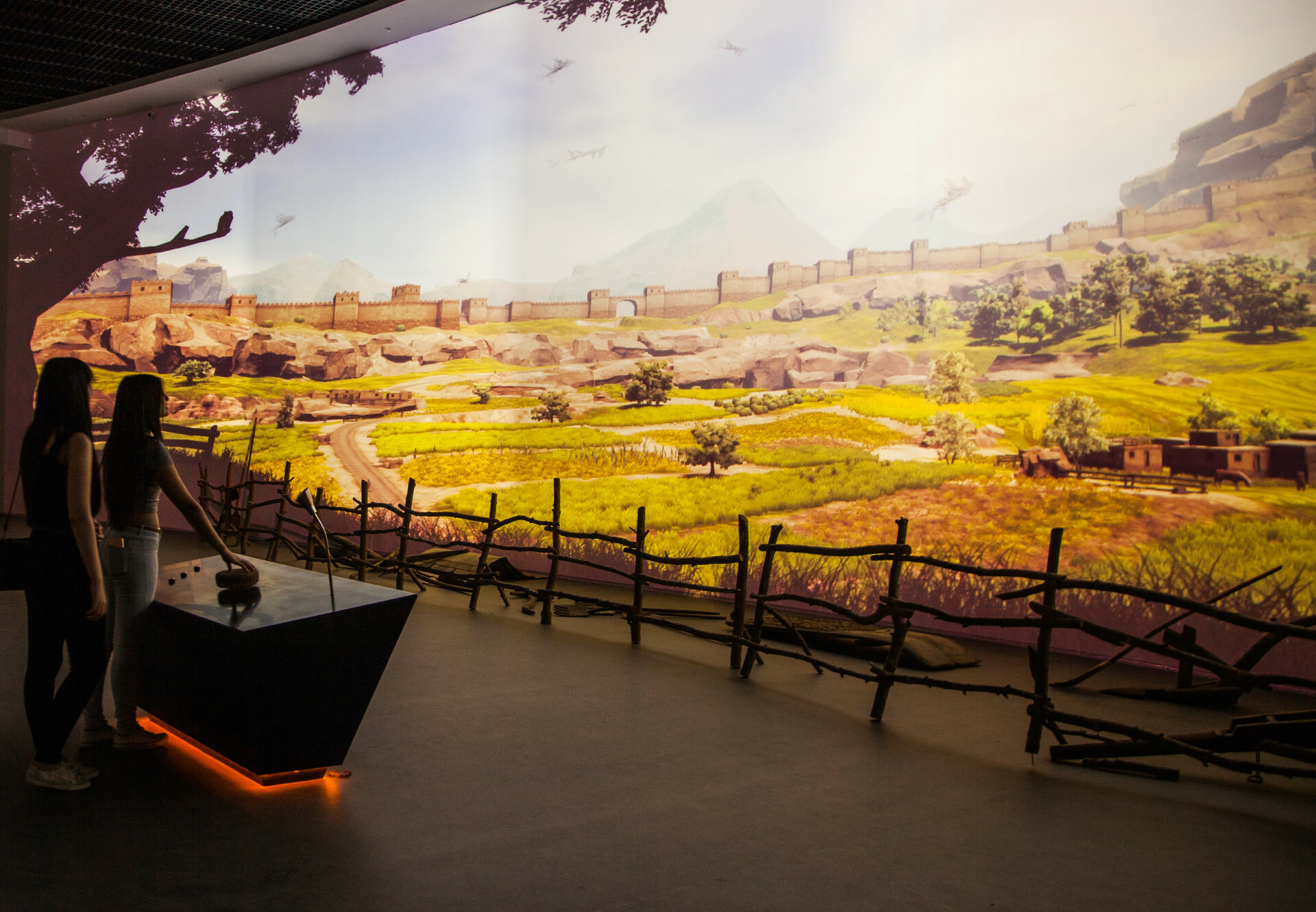 The Hittite Village, Interactive Installation, Museum for Biodiversity and Agriculture, EXPO 2016, Visitors can change weather situation in the ancient village like Teshub, Hittite god of sky and storm.  