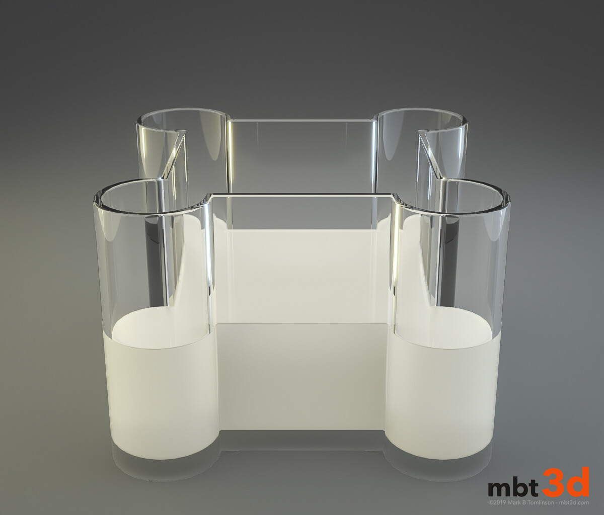 Vase: 2 Initial liquid test with low refraction samples and no SSS