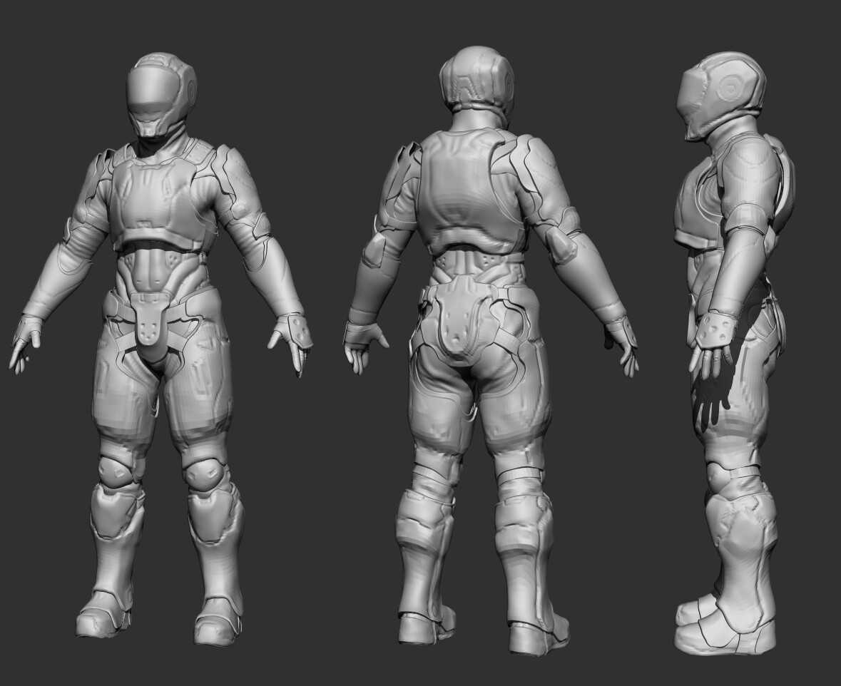 Redesign of initial shapes and helmet