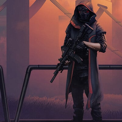 Travis lacey sunset soldier cyberpunk character travis lacey military scifi merk concept art maysketchaday 2019 web