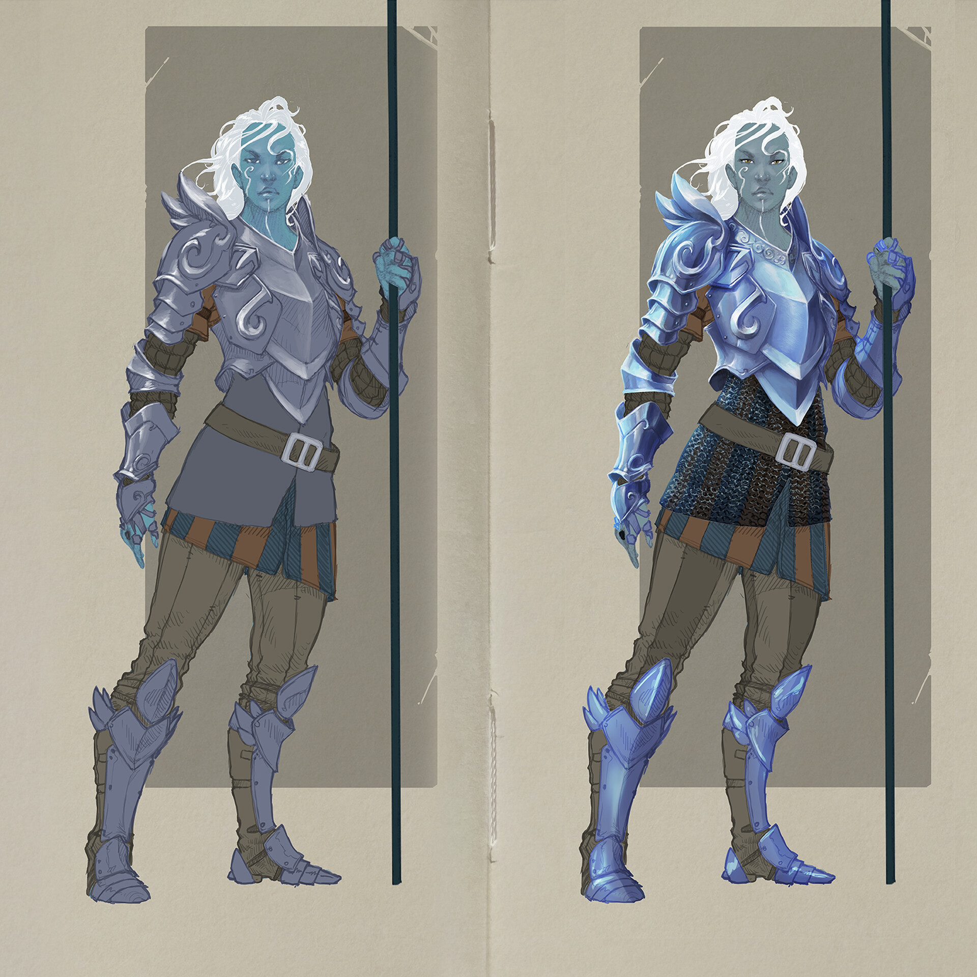 armor design and flat colors, started with the armor render