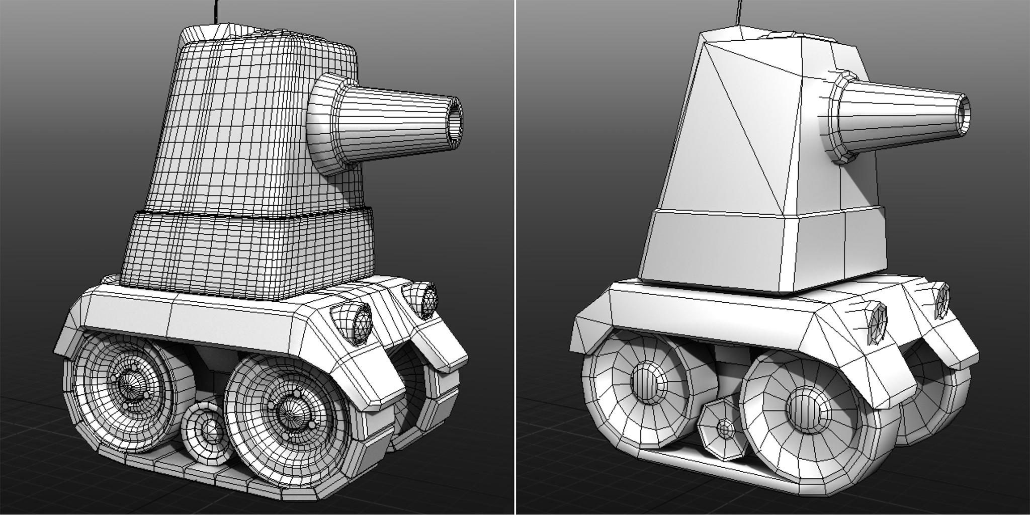 The original model for the tank was nearly 50,000 tris when it was given to me. I reduced it to fewer than 3,000.  Mesh optimized in Modo.
