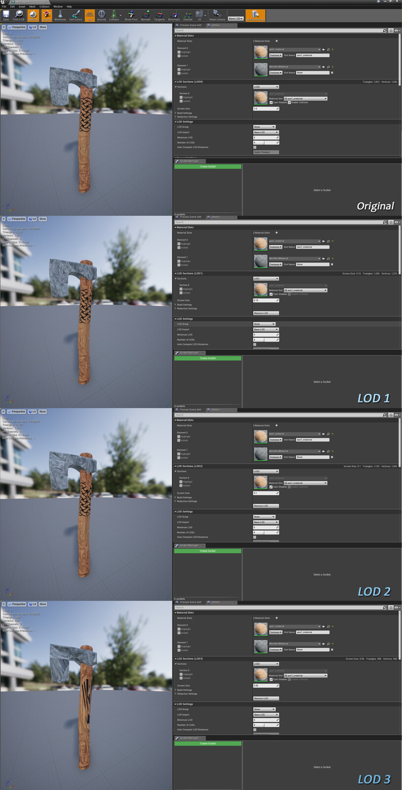Viking Axe Levels of Detail (Unreal Engine 4)