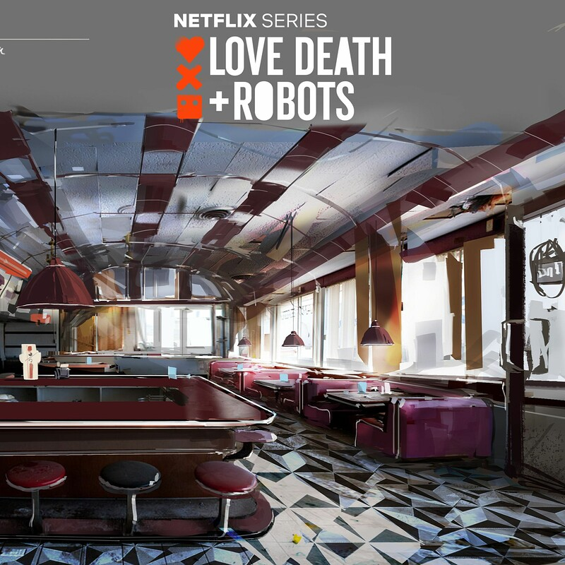 Love Death + Robots  - 3 Robots - diner before human extinction - concept art