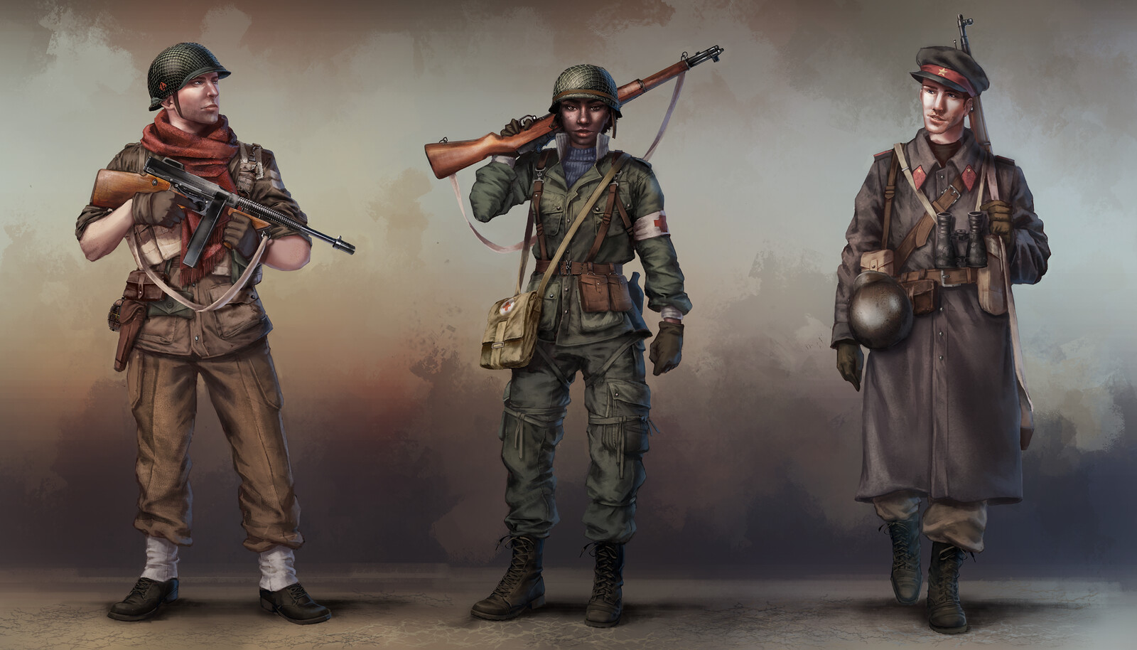 WW2 inspired character concepts - allied