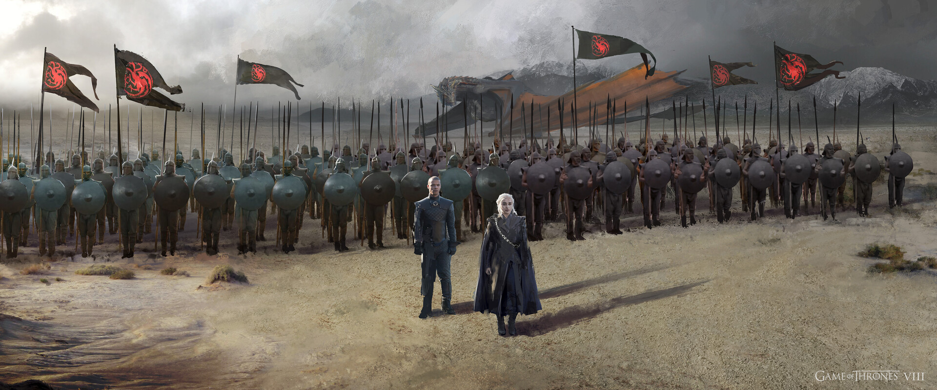 View of Daenerys with a small contingent of Unsullied soldiers