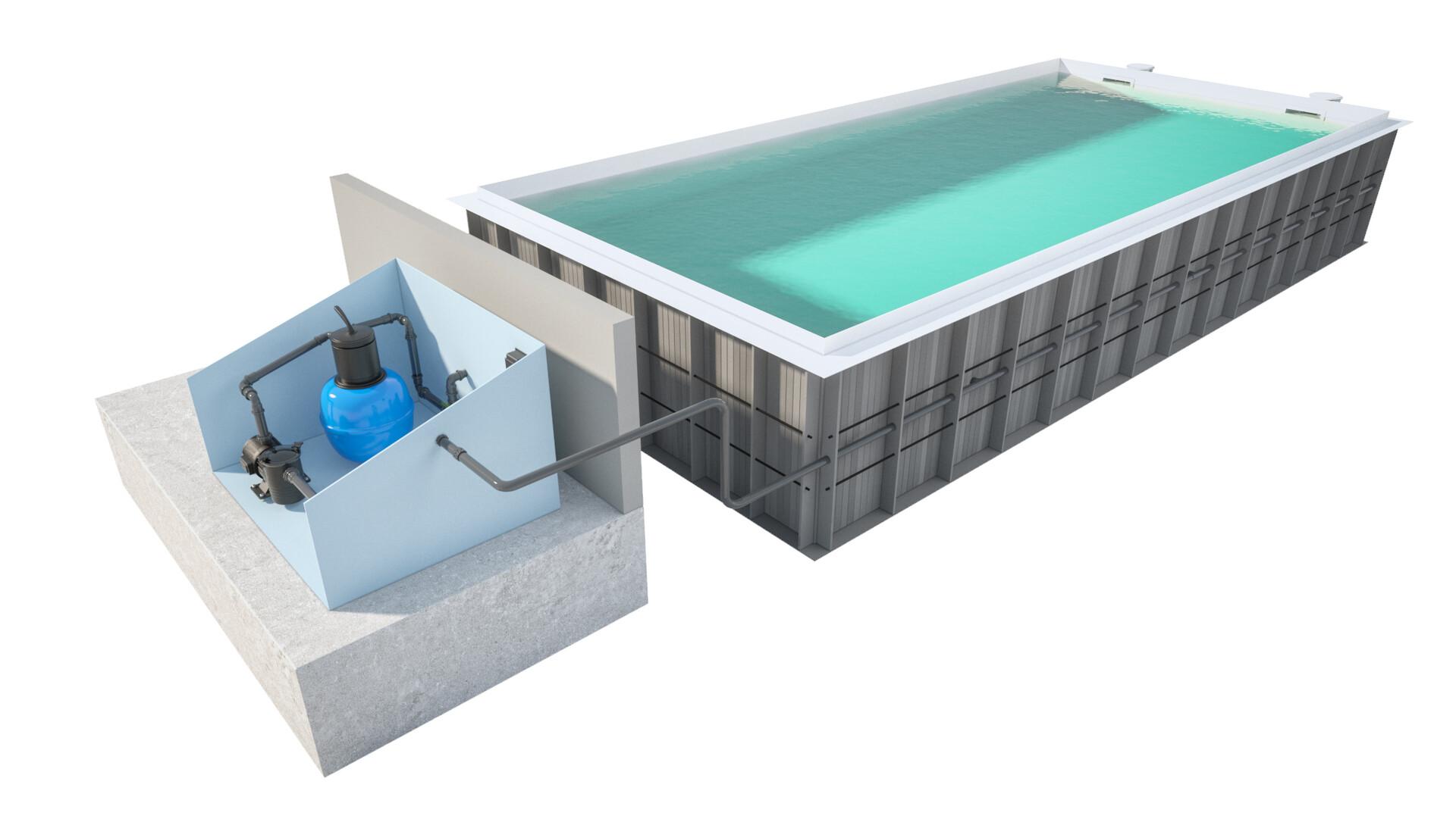 Pawel oleskow basen niezintegrowany ze skimmerem tb w budynku niecka biel woda biel