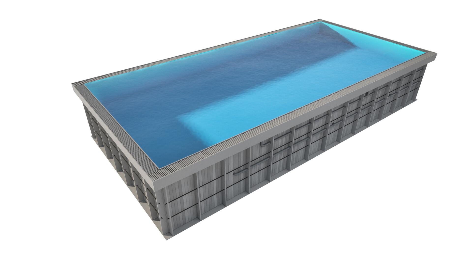 Pawel oleskow basen basic z rynna niecka niebieska woda lightblue kratka szara