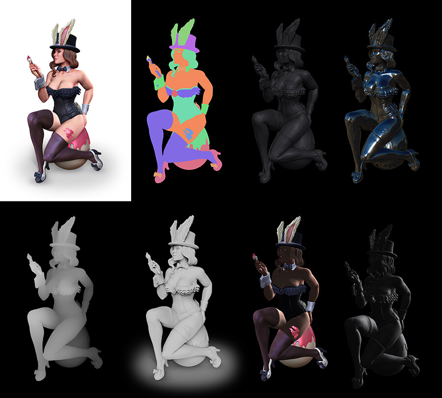 Some of the render passes from Zbrush used in the comp