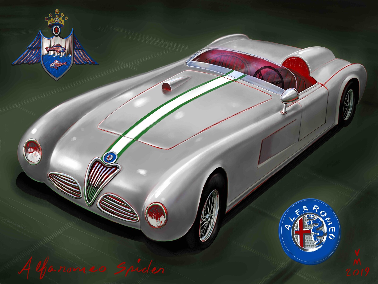 Italian Cars painted by Vince Mancuso