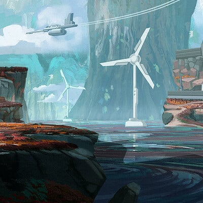 Travis lacey windmills maysketchaday 2019 art concept art travis lacey scifi web