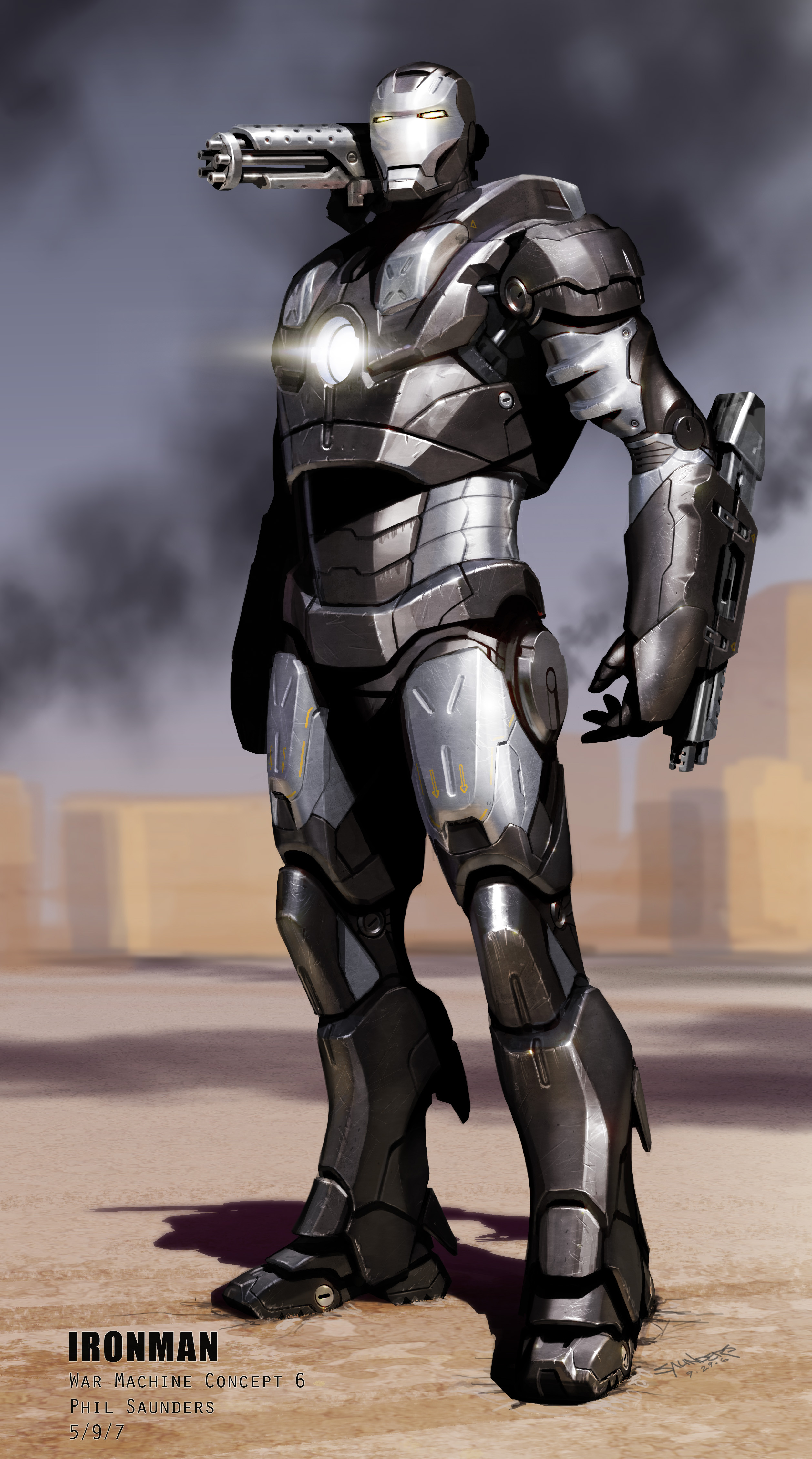 Final pass at War Machine in his traditional colors. Near the end of the project they wanted to see what the design would look like as an actual War Machine design, anticipating Iron Man 2.