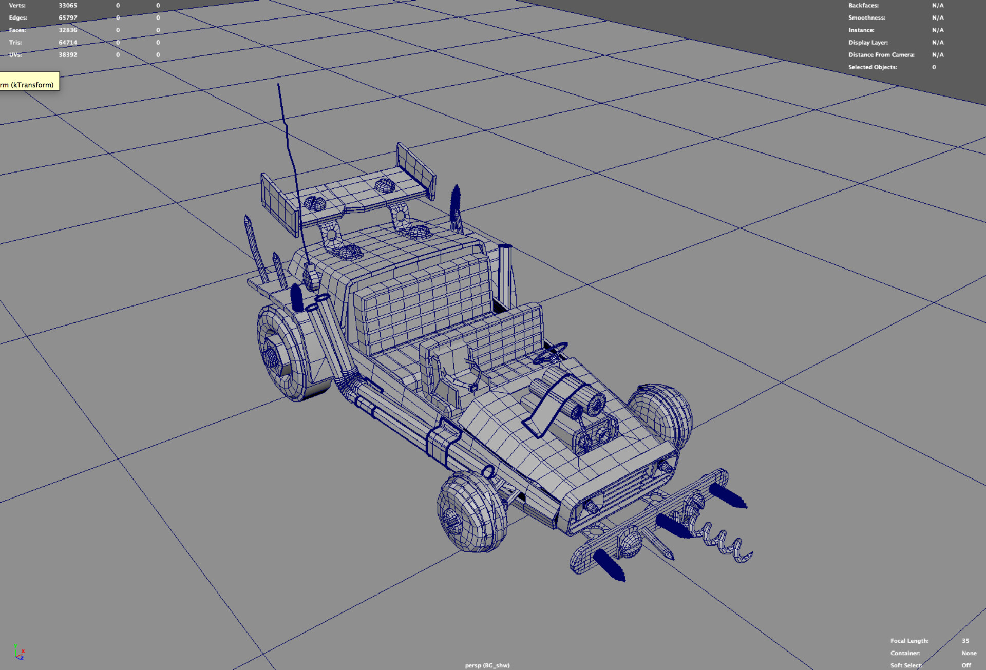 The car was modeled by Kendall Nelson, and then passed off to me for UVs, Texturing, and Shading.