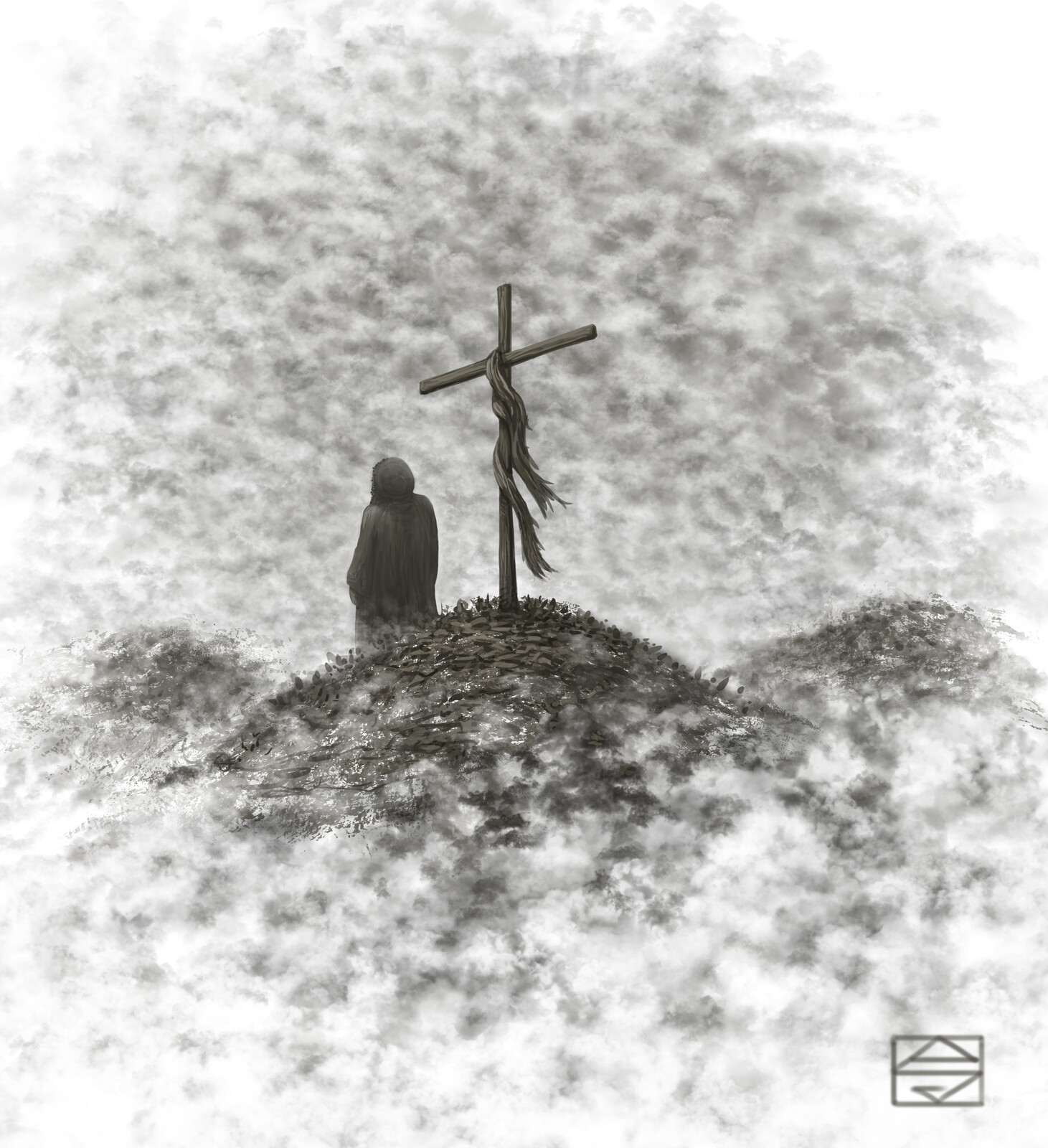 Standing with Cross