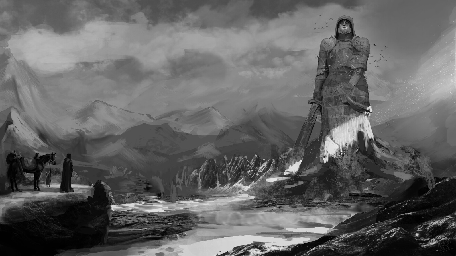 Original black and white value study. About 3.5 hours of work total