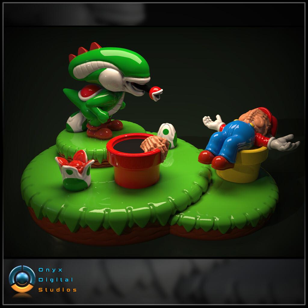 image regarding Printable Diorama named ArtStation - 3D Printable Yoshi Aliens Mashup Diorama, John