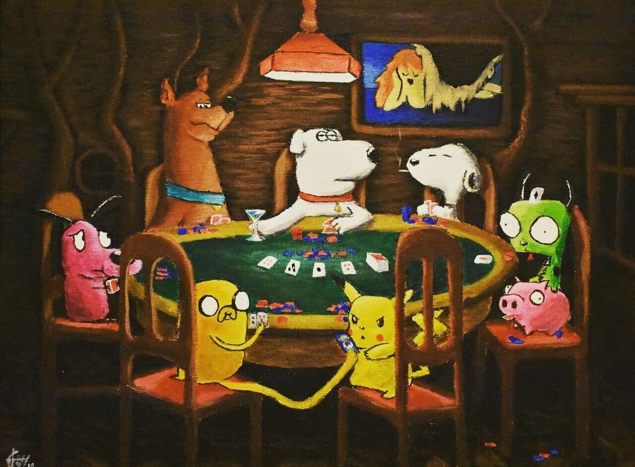 Sabrina Morilla Cartoon Dogs Playing Poker