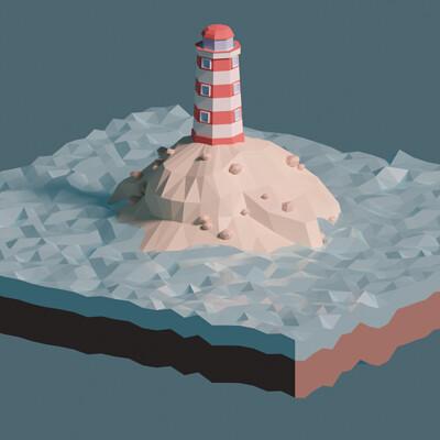 Jan golicnik lighthouse on a island low poly