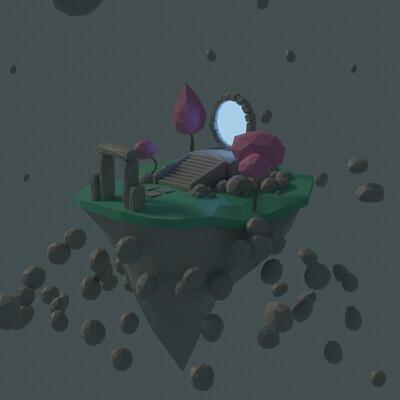 Jan golicnik island with portal low poly