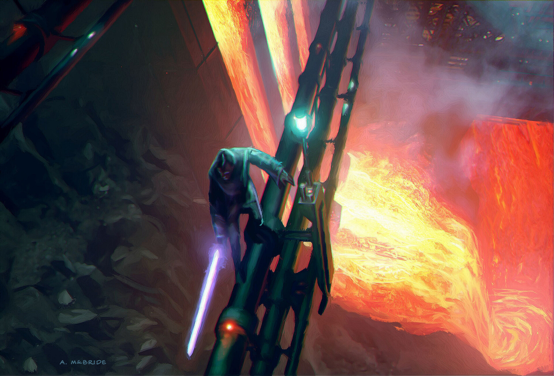 Artstation Star Wars Revenge Of The Sith 2005 Concept Of Obi Wan Dueling Anakin Over Lava Dam Aaron Mcbride