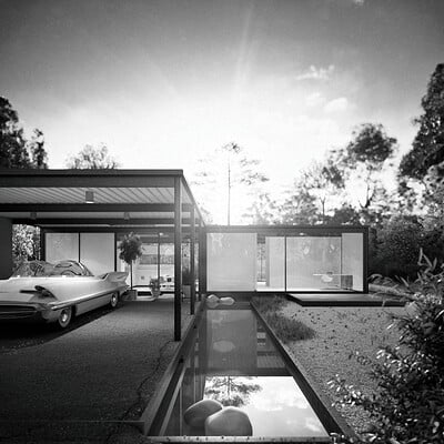 Ze santos csh21 160602 k01 kitchen office exterior behind house bw