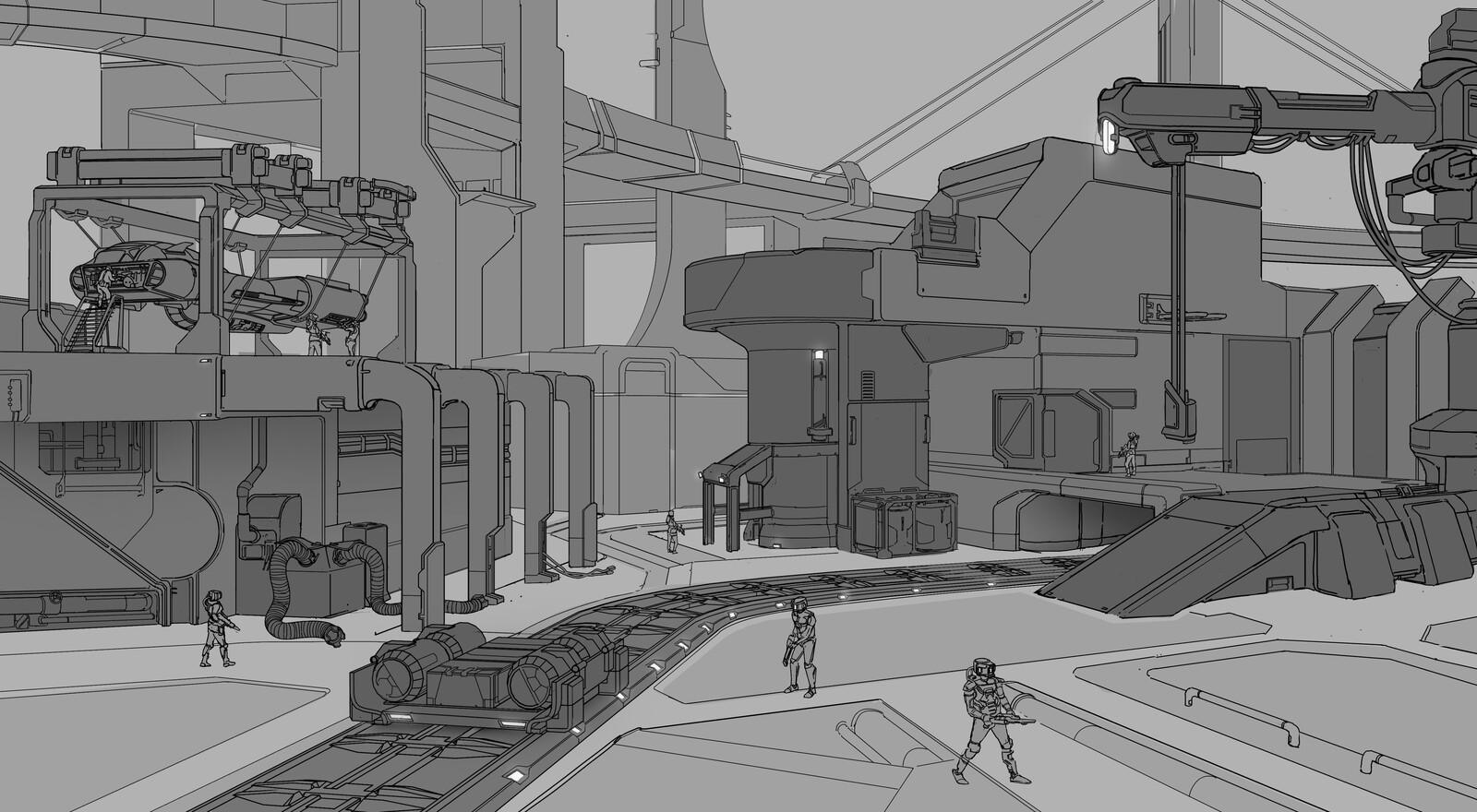 Sci-fi courtyard