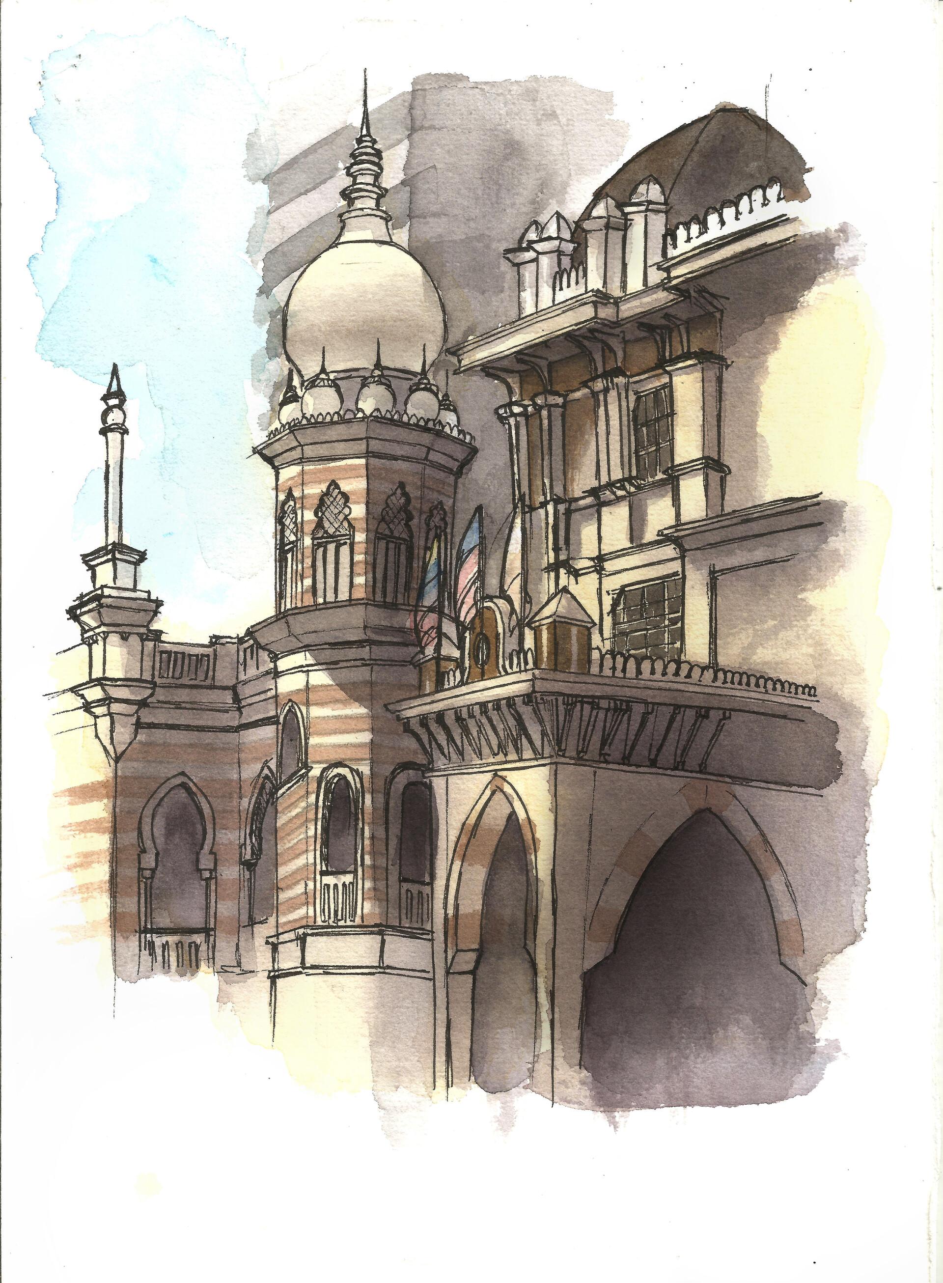 Artstation Watercolour Sketch Of Sultan Abdul Samad Building Kuala Lumpur Rebekah Wong